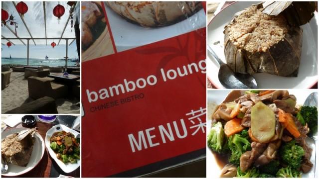A incrível vista da nossa mesa e os pratos: carne com vegetais e arroz