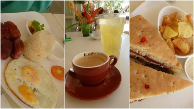 O café-da-manhã filipino, com ovo, arroz e linguiça, o café e o suco de calamansi e o sanduíche (enorme!) de frango e camarão