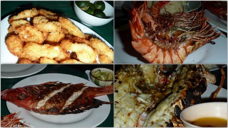 Seafood BBQ: à noite, vários restaurantes surgem à beira da praia. Uma variedade enorme de frutos do mar pode ser encontrada em qualquer um deles. Escolhemos lula empanada, camarão grelhado, red snapper (eu não sei traduzir nomes de peixes) e lagosta na grelha, servida com manteiga e alho. Ao se escolher a lagosta, certifique-se que a sua carne está branca (porque significa que ela é fresca)! #dicadecomida