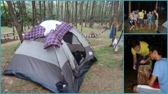 Uma das barracas e as redes, o grupo que foi ao camping e tentando fazer a fogueira!