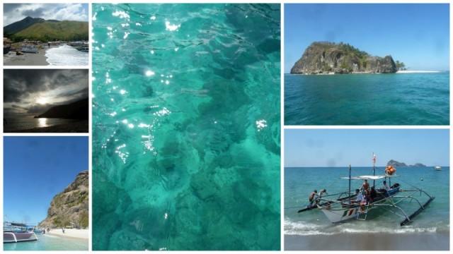 """A praia onde chegamos, o pôr-do-sol incrível da praia onde estávamos acampados, Capone's Island, a água (sim, é assim de clara... É assim de transparente!), uma praia isolada (só se chegava lá nadando) e o barco que nos deixou: """"fui expulsa da ilha de Survivors!"""" =D"""