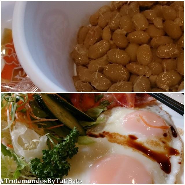Nattou (foto acima) e café da manhã estilo ocidental: como comer ovos fritos com hashi? =)